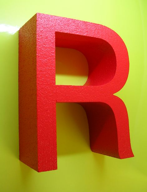 POLYSTYRENE LETTERS PAINTED ON FACE AND SIDES